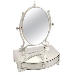 Antique Edwardian Sterling Silver Dressing Table Mirror and Jewelry Box