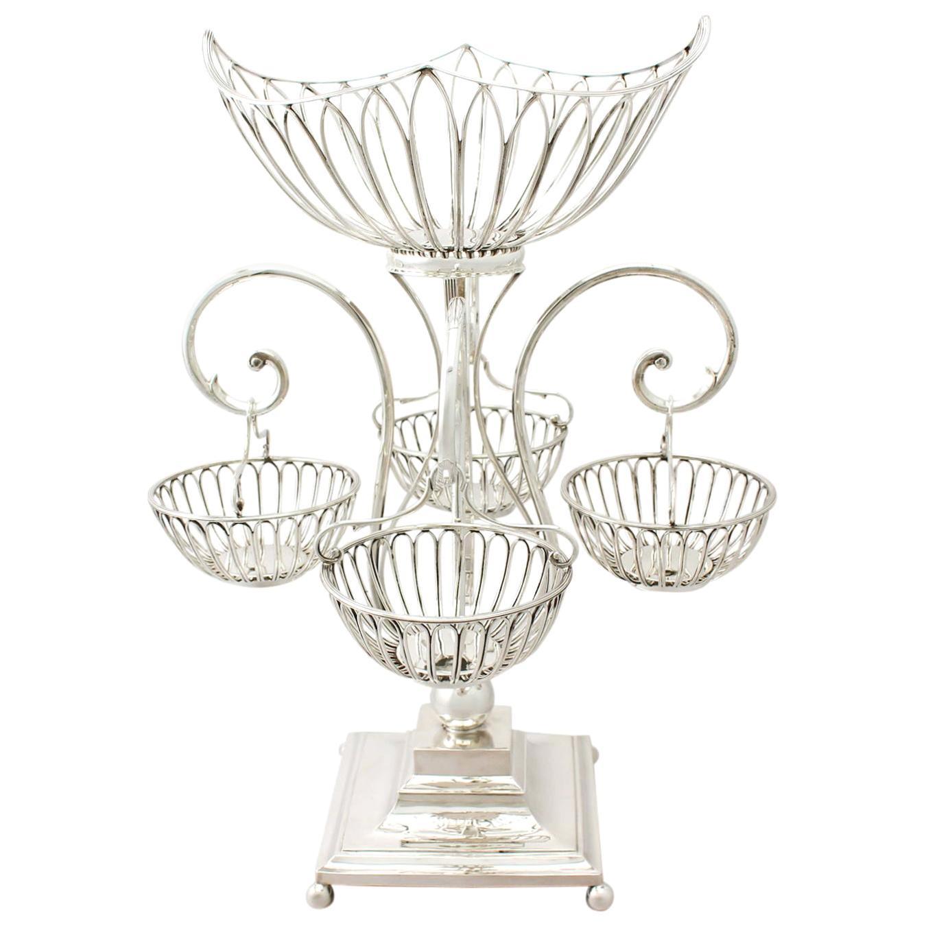 Antique Edwardian Sterling Silver Epergne Centrepiece