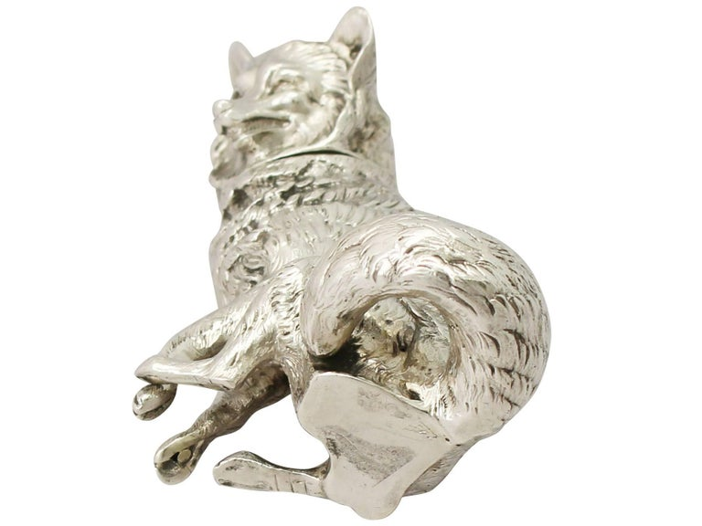 Antique Edwardian Sterling Silver 'Fox' Pepperette For Sale 5