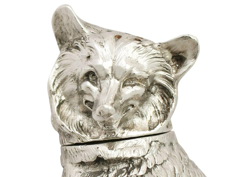 Antique Edwardian Sterling Silver 'Fox' Pepperette For Sale 2