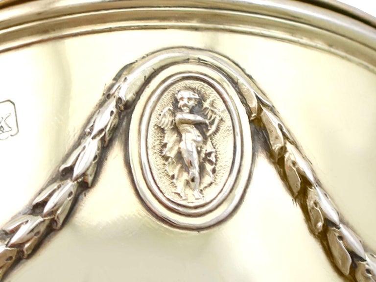 Antique Edwardian Sterling Silver Gilt Condiment Set, 1905 For Sale 10