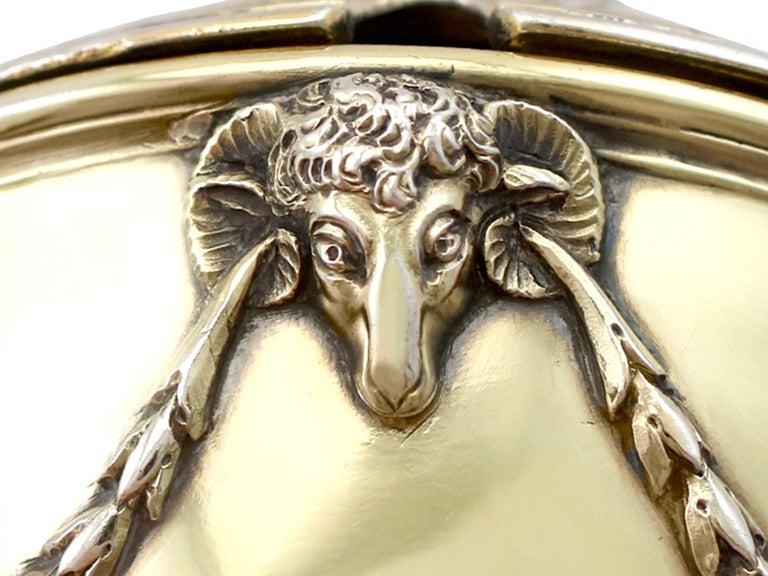 Antique Edwardian Sterling Silver Gilt Condiment Set, 1905 For Sale 11