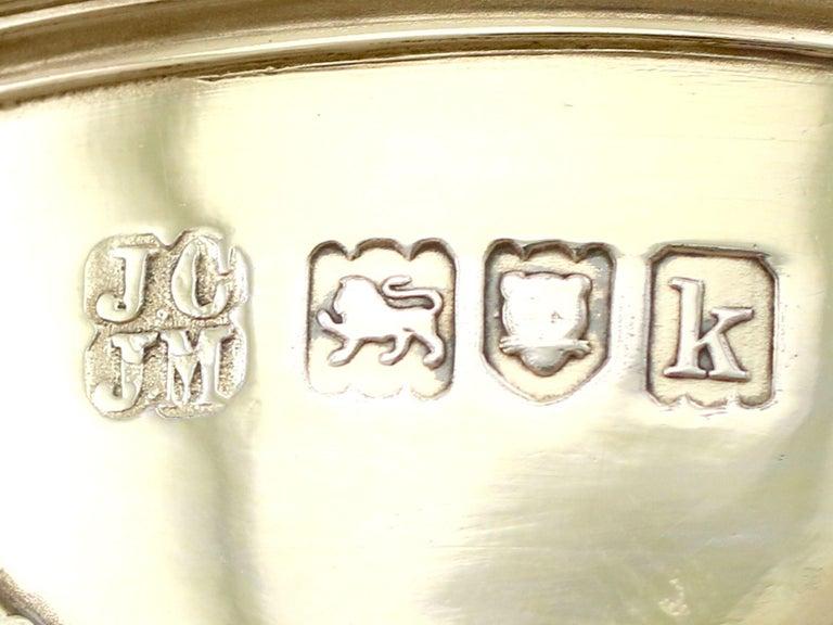 Antique Edwardian Sterling Silver Gilt Condiment Set, 1905 For Sale 12