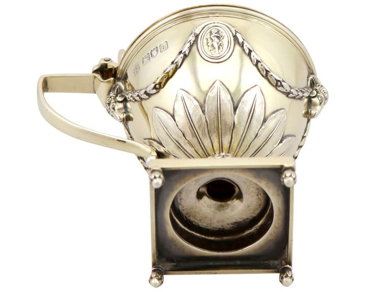 Antique Edwardian Sterling Silver Gilt Condiment Set, 1905 For Sale 14