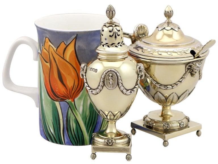 British Antique Edwardian Sterling Silver Gilt Condiment Set, 1905 For Sale