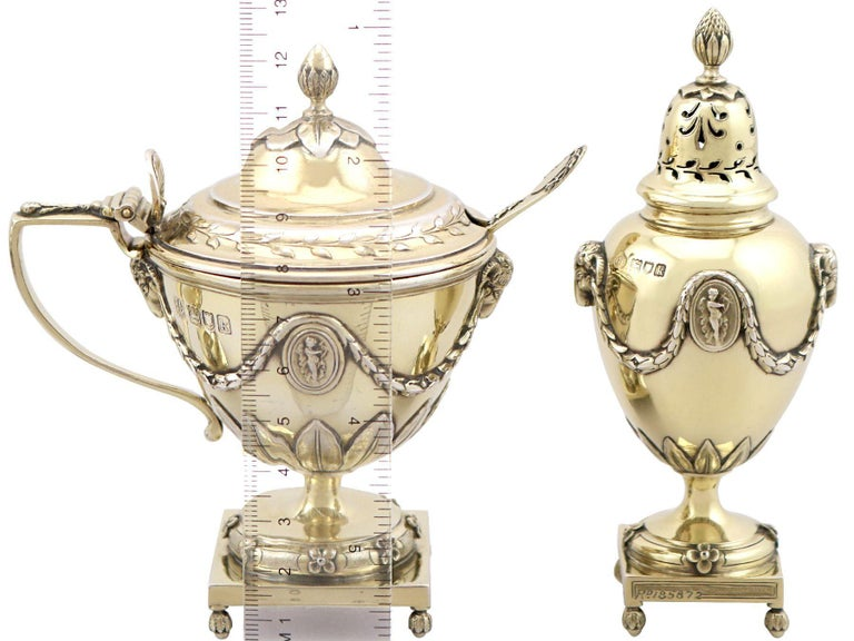 Antique Edwardian Sterling Silver Gilt Condiment Set, 1905 In Excellent Condition For Sale In Jesmond, Newcastle Upon Tyne