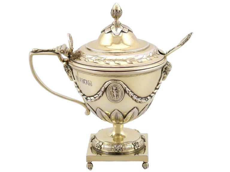 Early 20th Century Antique Edwardian Sterling Silver Gilt Condiment Set, 1905 For Sale