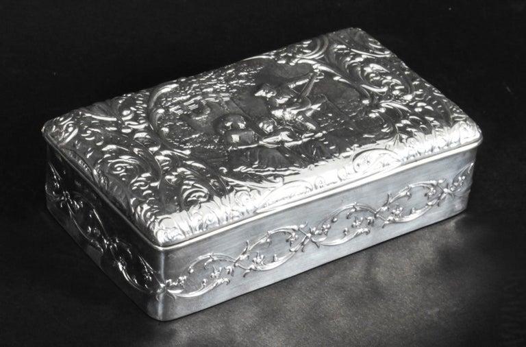 Antique Edwardian Sterling Silver Jewellery Box Casket H. Matthews, 1901 For Sale 8