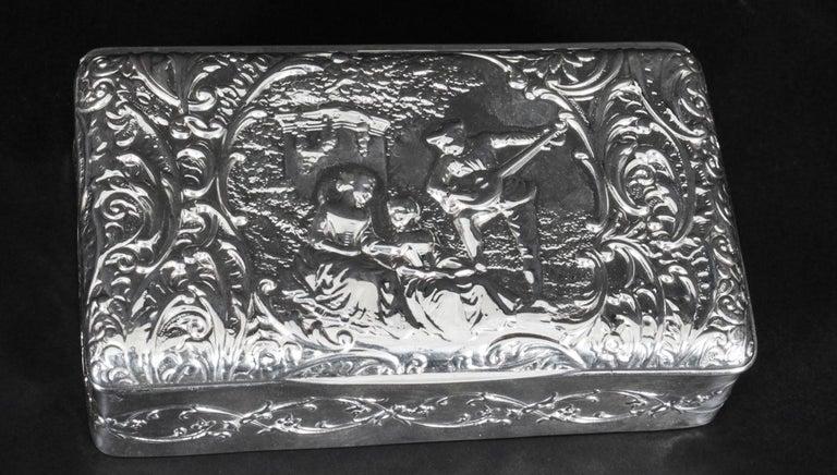 English Antique Edwardian Sterling Silver Jewellery Box Casket H. Matthews, 1901 For Sale