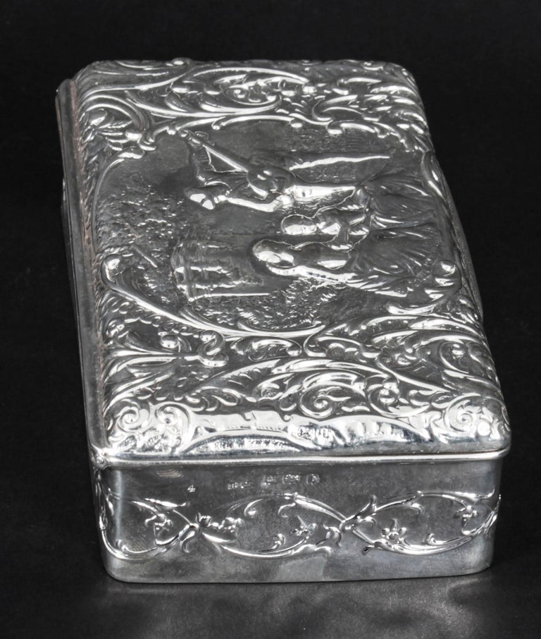 Antique Edwardian Sterling Silver Jewellery Box Casket H. Matthews, 1901 In Good Condition For Sale In London, GB