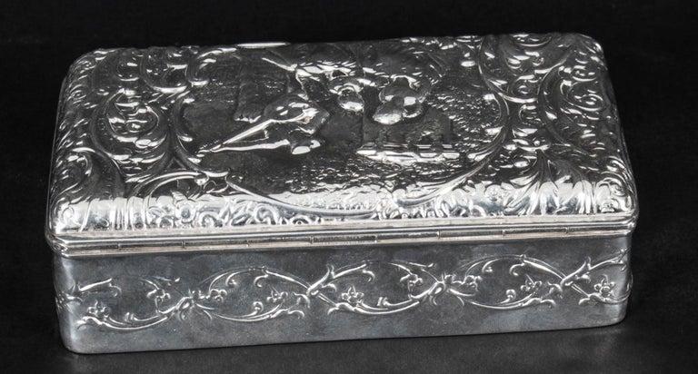 Antique Edwardian Sterling Silver Jewellery Box Casket H. Matthews, 1901 For Sale 1