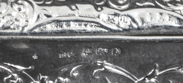 Antique Edwardian Sterling Silver Jewellery Box Casket H. Matthews, 1901 For Sale 2