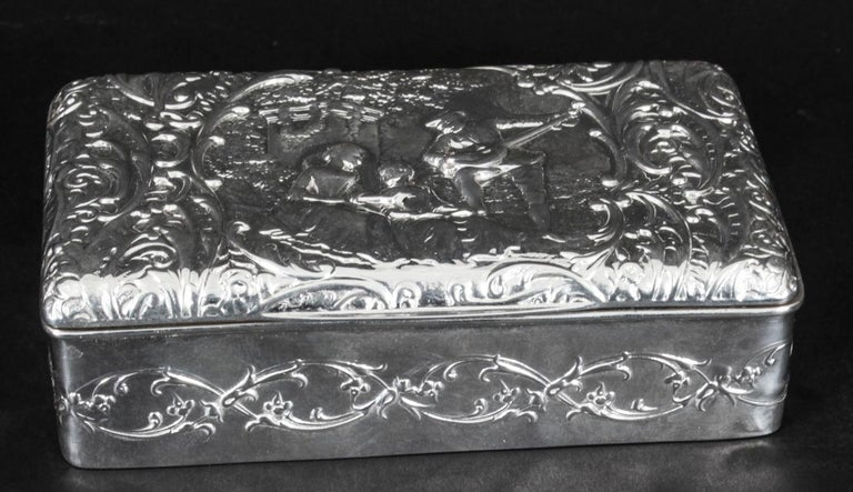 Antique Edwardian Sterling Silver Jewellery Box Casket H. Matthews, 1901 For Sale 3