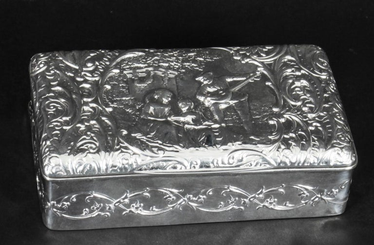 Antique Edwardian Sterling Silver Jewellery Box Casket H. Matthews, 1901 For Sale 4