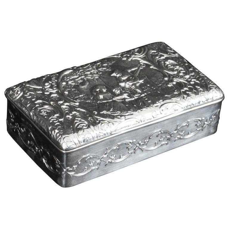 Antique Edwardian Sterling Silver Jewellery Box Casket H. Matthews, 1901 For Sale
