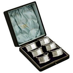 Antique Edwardian Sterling Silver Napkin Rings, 1902