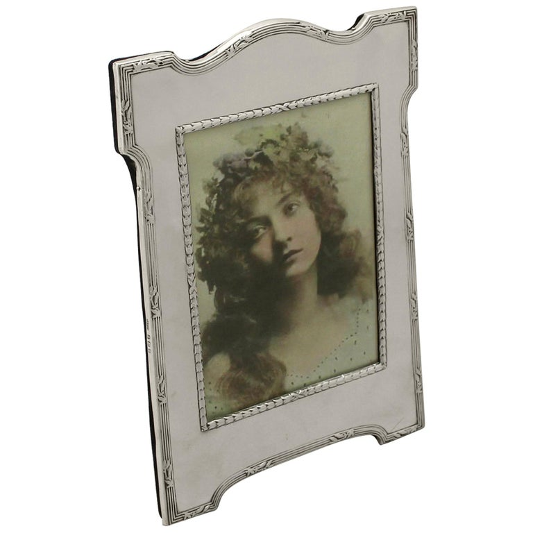 Antique Edwardian Sterling Silver Photograph Frame by E Mander & Son For Sale
