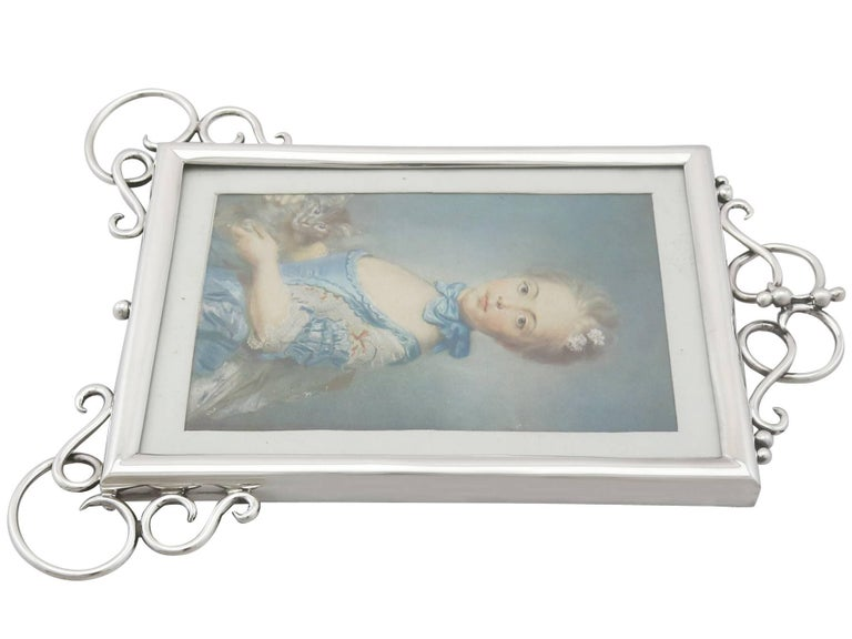 Glass Antique Edwardian Sterling Silver Photograph Frame For Sale