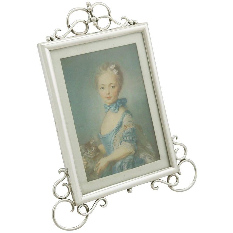 Antique Edwardian Sterling Silver Photograph Frame For Sale