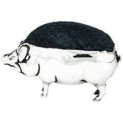 Antique Edwardian Sterling Silver Pig Shaped Pin Cushion
