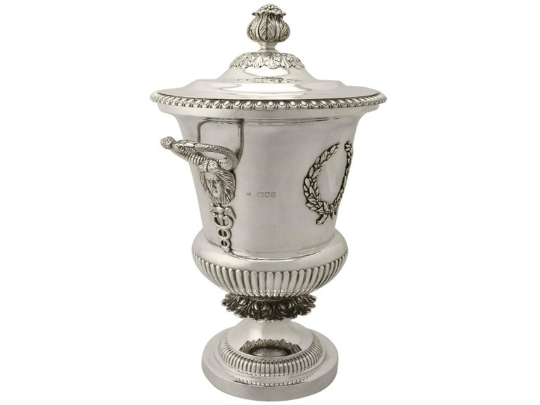 English Antique Edwardian Sterling Silver Presentation Cup and Cover For Sale
