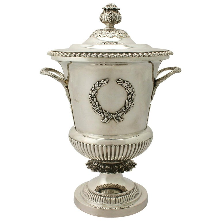 Antique Edwardian Sterling Silver Presentation Cup and Cover For Sale