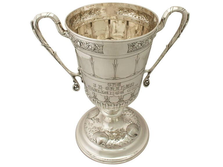 Art Nouveau Antique Edwardian Sterling Silver Presentation or Champagne Cup and Cover For Sale
