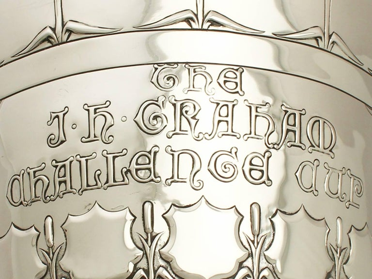 Antique Edwardian Sterling Silver Presentation or Champagne Cup and Cover For Sale 1