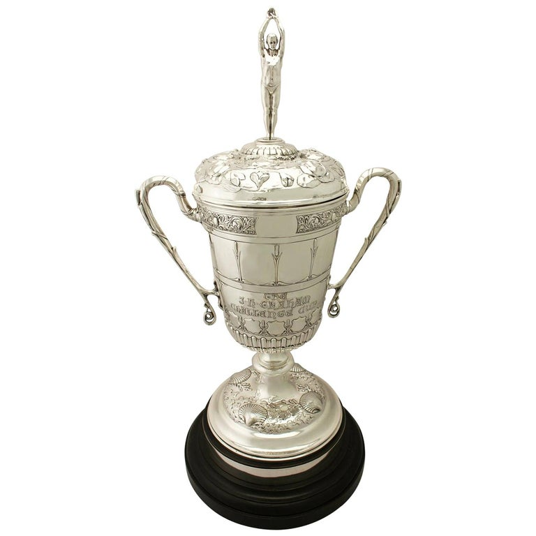Antique Edwardian Sterling Silver Presentation or Champagne Cup and Cover For Sale