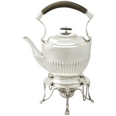 Antique Edwardian Sterling Silver Spirit Tea Kettle