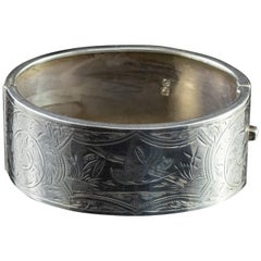 Antique Edwardian Sterling Silver Swallow Dated 1913 Bangle