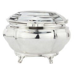 Antique Edwardian Sterling Silver Tea Caddy by Goldsmiths & Silversmiths Co Ltd