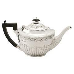 Antique Edwardian Sterling Silver Teapot Queen Anne Style