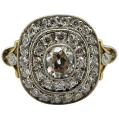 Antique Edwardian Style 18 Karat and Platinum Double Halo Diamond Ring