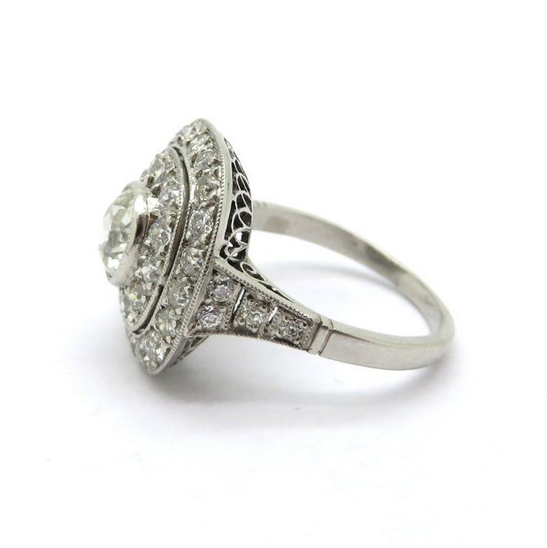 Edwardian Engagement Rings For Sale: Antique Edwardian Style Halo Platinum Diamond Engagement