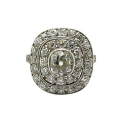Antique Edwardian Style Halo Platinum Diamond Engagement Ring
