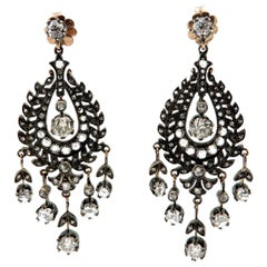 Antique Edwardian Style Platinum and 18K Two-Tone Chandelier Diamond Earrings
