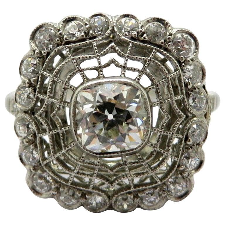 "Antique Edwardian Style Platinum ""Spider Web"" Motif Diamond Engagement Ring For Sale"