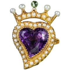 Antique Edwardian Suffragette Amethyst 15Ct Gold circa 1910 Witches Heart Brooch