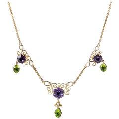 Antique Edwardian Suffragette Amethyst Peridot 9 Carat Gold Necklace
