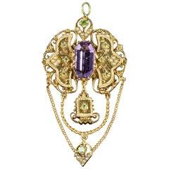 Antique Edwardian Suffragette Drop Pendant 18 Carat Gold Amethyst, circa 1910