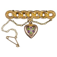 Antique Edwardian Suffragette Heart Brooch 15 Carat Gold, circa 1910