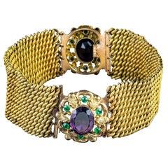 Antique Edwardian Suffragette Paste Stone Collar and Bracelets, circa 1915