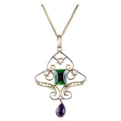 Antique Edwardian Suffragette Pendant Tourmaline 9 Carat Gold, circa 1910