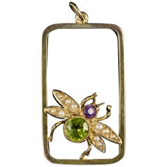 Antique Edwardian Suffragette Peridot Bee Pendant, circa 1915
