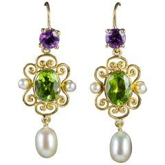 Antique Edwardian Suffragette Peridot Pearl Drop Earrings 18 Carat Gold