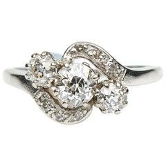 Antique, Edwardian, Three-Stone Diamond Crossover Engagement Ring