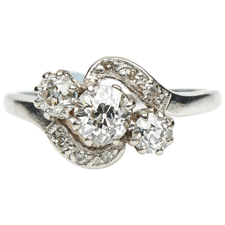 Edwardian Engagement Rings For Sale: Antique, Edwardian, Three-Stone Diamond Crossover