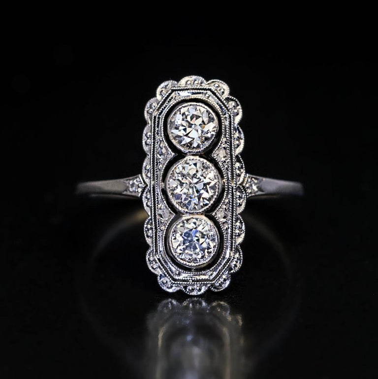 Antique Engagement Rings For Sale: Antique Edwardian Three-Stone Diamond Platinum Engagement