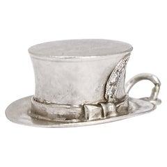 """Antique Edwardian """"Top Hat"""" Diamond Platinum Charm"""